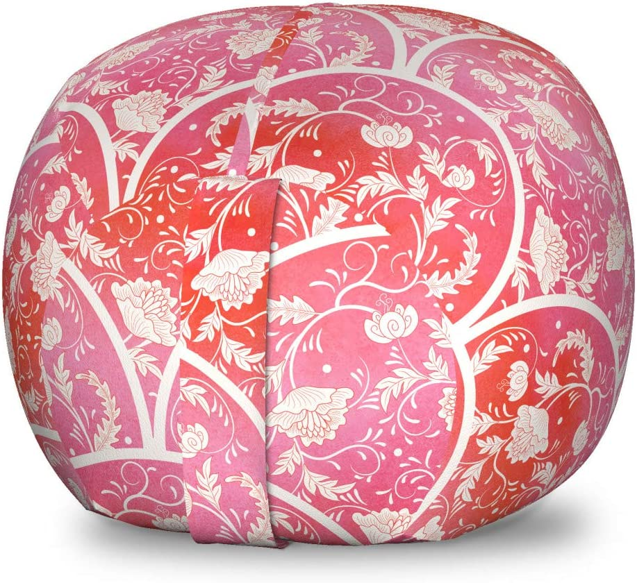 Ambesonne Recommended Floral Storage Max 71% OFF Toy Bag Botanical Chair Romantic Flowe