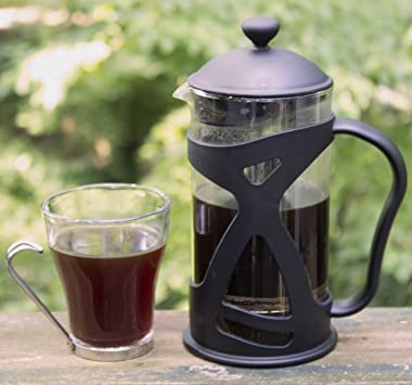KONA French Press Coffee Maker With Reusable Stainless Steel Filter, Large Comfortable Handle & Glass Protecting Durable