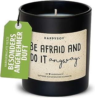 Vela aromática motivadora en vaso de cristal con texto de soja, 100 % natural, vegana, sostenible, regalo personal para me...