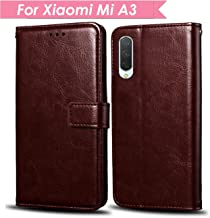 WOW Imagine MI A3 Case | Leather Finish | Inside TPU with Card Holder | Wallet Stand | Shock Proof | Magnetic Closure | 360 Degree Complete Protection Flip Cover for Xiaomi Mi A3 - Chesnut Brown