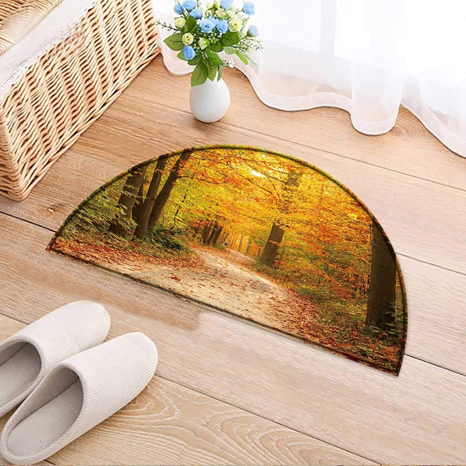 Entrance Hall Carpet Pathway Through The Autumn Forest Non Slip Rug W43 x H30 INCH