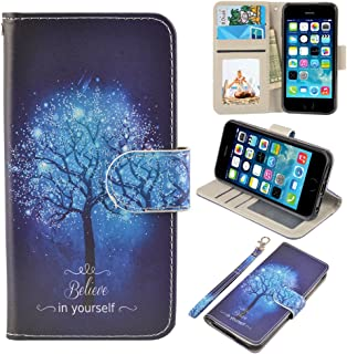 UrSpeedtekLive iPhone 5/5s/SE Case, iPhone 5/5s/SE Wallet Case, Premium PU Leather Wristlet Flip Case Cover with Card Slots & Stand for iPhone 5/5s/SE, Believe in Yourself