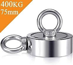 Uolor N52 400 Kg Haftkraft Doppelseitig Neodym Ösenmagnet, Super Stark Magnete Perfekt zum Magnetfischen Magnet Angel - Durchmesser75MM mit 2 Öse Neodymium Topfmagnet