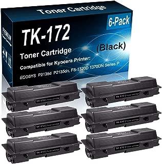6-Pack (Black) Compatible ECOSYS P2135d P2135dn, FS-1320D 1370DN Printer Toner Cartridge (High Capacity) Replacement for Kyocera TK-172 Laser Printer Toner Cartridge