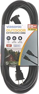 Viasonic Indoor/Outdoor Extension Cord - 20FT - Heavy Duty & Durable, General Purpose, 16 Gauge, 2-Prong, UL-Listed - by Unity (Black)