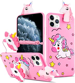 HikerClub iPhone 11 Case Unicorn Cute 3D Cartoon Case with Airbag Holder Stand and Lanyard Soft TPU Ultra Thin Slim Shockproof Protection Case (My Little Pony, iPhone 11)