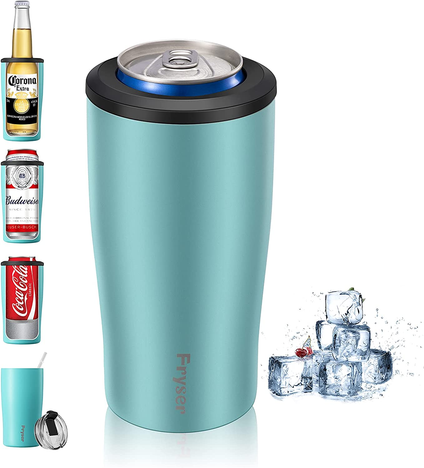 Fryser Can Cooler 12 Oz Can Insulator 4-in-1 Stainless Steel Vacuum Insulated Can Holder Cold Can Keeper for Beer Bottles,Soda,Seltzers Slim/Skinny Regular Can and As Tumbler Cup with Lid Straw(Blue)