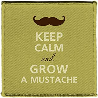 Keep Calm AND GROW A MUSTACHE - Iron on 4x4 inch Embroidered Edge Patch Applique
