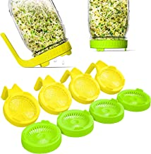 NSYNSY Sprouting Lids With Handle , Bean Sprouts Plastic Mason Jars Wide Mouth Mesh Screen Lid 8 Pack, For Growing Microgr...