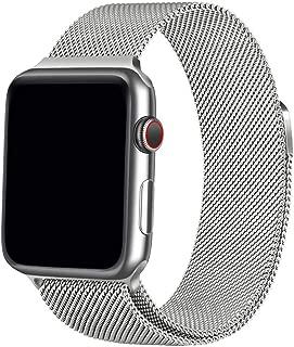 Apple watch バンド最新の製造プロセス Apple Watch Band iWatch ベルト、apple バンドミラネーゼループ コンパチブルアップルウォッチバンド コンパチブル アップルウォッチ4 コンパチブルapple watch series4/3/2/1に対応 ステンレス留め金製 (42mm/44mm,シルバー)