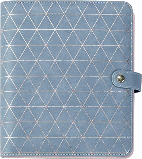 A5 6 Ring Binder Journal – Refillable Leather Notebook Classic Loose Leaf Planner Blank Paper & 3 Pockets (Lingge, Grey)
