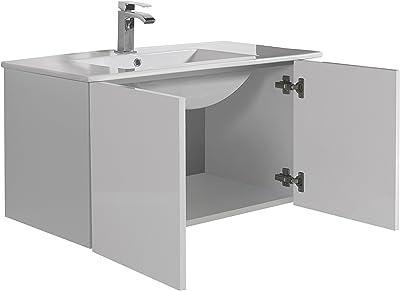 Aleghe Eris Mueble de baño, Madera, Blanco Brillo, 80.00x45.00x45.