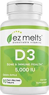 EZ Melts D3 as Cholecalciferol, 5,000 IU, Sublingual Vitamins, Vegetarian, Zero Sugar, Natural Apple Flavor, 90 Fast Dissolve Tablets