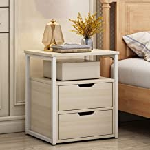 Nightstand for Bedroom 2 in 1 Bed Sofa Side End Table with Drawer And Open Storage Shelf,Bedside Locker,Living Room Sofa C...