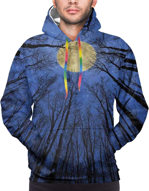 Men's Hoodies Sweatshirts,Full Moon Birds Fairytale Fantasy Old Castle Balcony Burning Candle Night View Art