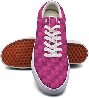 SERXO Breast Cancer Pink Skateboard Shoes Women Comfortable Sneakers for Walking