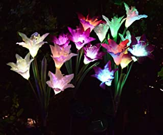 [4 Pack] Solar Garden Lights with 16 Lily Flowers | Color Changing LED Solar Stake Lights for Garden, Patio, Path, Backyard