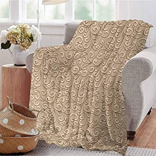 Boys Throw Blanket Floral Swirls Damask Pattern Classic Victorian Style in Retro Antique Background French Beige Dorm Bed Baby Cot Traveling Picnic W70 xL84