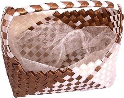 Nova PP Strap Handmade Multipurpose Woven Fruit Basket (Size 15.24x21.59x24.13CM, Brown and White