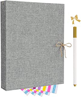 Scrapbook,Photo Album,Linen Refillable Scrap Book DIY Scrapbooking Memory Book 60 Black Craft Pages with 5 Photo Mounting Corners