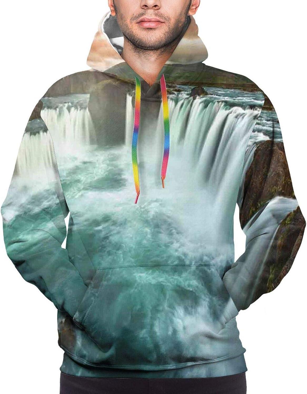 Men's Hoodies Sweatshirts,Majestic Foggy Morning Scene Triglav National Park Mountain Valley Dramatic View