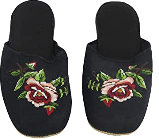 Handmade Embroidered Floral Chinese Women's Cotton Slippers Red Blue Black New