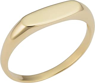 KoolJewelry 14k Yellow Gold 4.25 mm Long Oval Signet Ring for Men and Women, Size 6-9