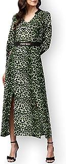 Zima Leto - Maxi abito da donna con stampa animalier, con cintura decorata