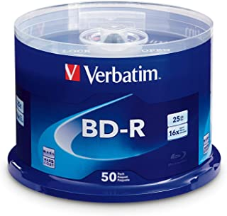 Verbatim BD-R 25GB 16X Blu-ray Recordable Media Disc – 50 Pack Spindle
