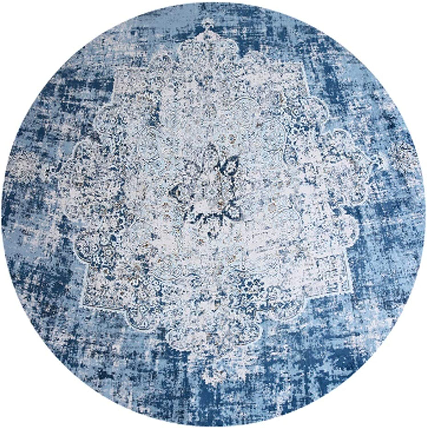 Carpet Round Carpet Simple Living Room Rug American Coffee Table mat Bedroom Bedside Rug Computer Chair Rug Soft and Comfortable (color   bluee, Size   Diameter 160cm)