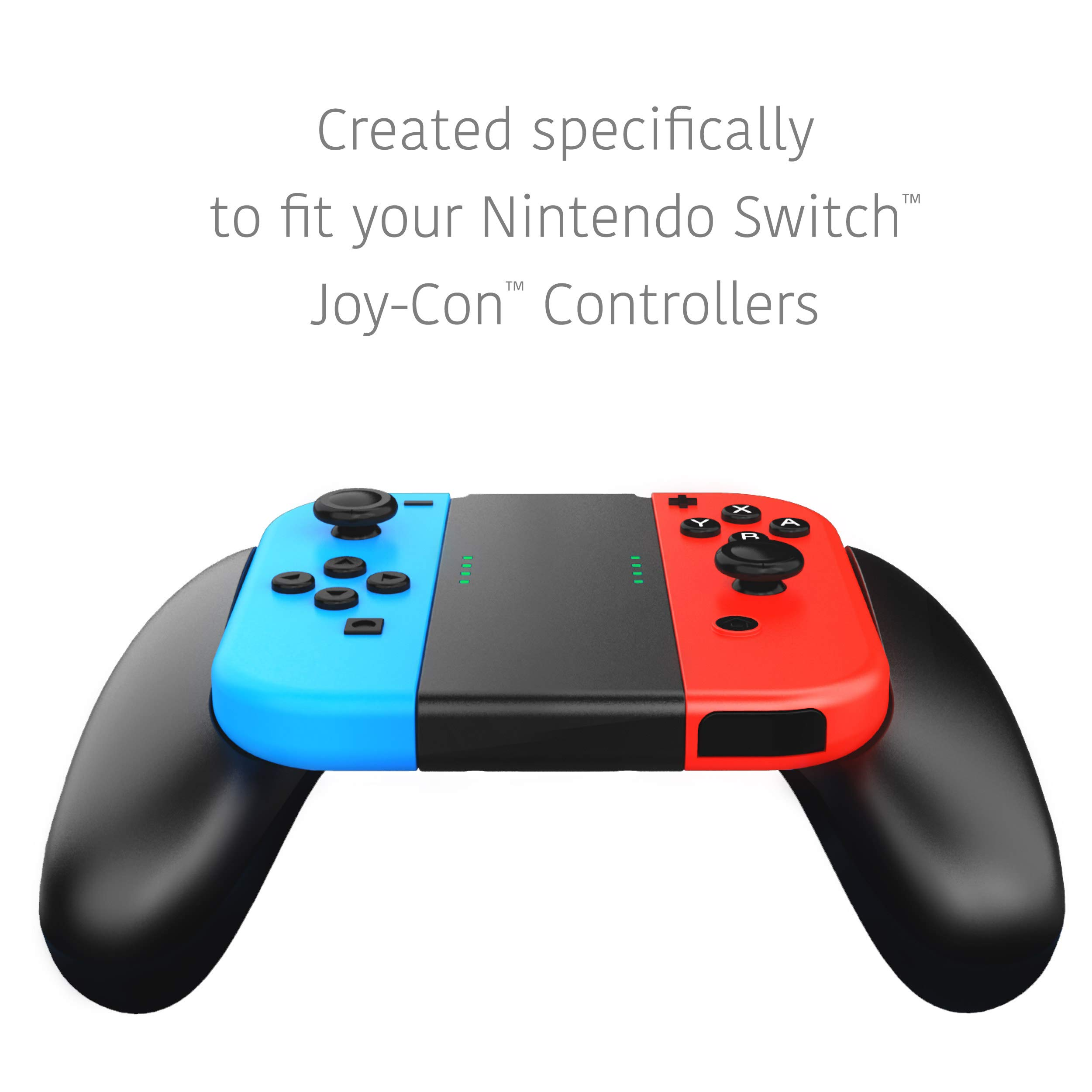 Joycon Comfort Grip for Nintendo Switch by TalkWorks | Controller Game Accessories Handheld Joystick Remote Control Holder Joy Con Kit, Black