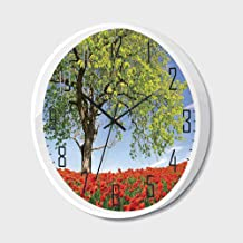 Non Ticking Wall Clock Silent with Metal Frame HD Glass Cover,Poppy,Landscape of Blooming Poppies on Field Majestic Tree Rural Terrain Habitat Photo,for Office,Bedroom,12inch