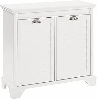Crosley Furniture Lydia Two-Compartment Linen Hamper - White
