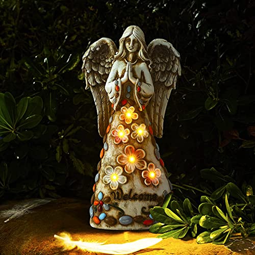 discount Angel Garden Statue Outdoor Decor Solar Powered Resin Sculpture Art Decoration Stake Lights with 6 Warm LEDs for Patio, Lawn, Yard, Porch wholesale Decoration, Memorial 2021 Gift (Warm) sale