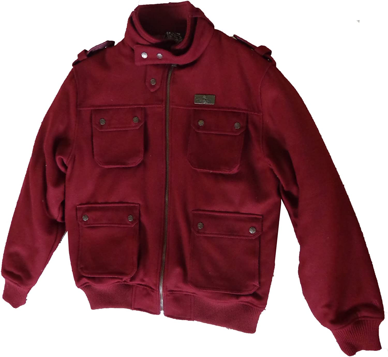 Black Label Mens Wool Blend Burgundy Jackets