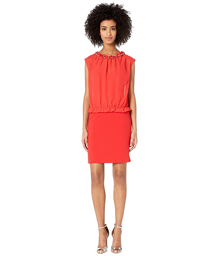 Boutique Moschino Sweetheart Sheath Dress with Blouse Overlay (Red) Women