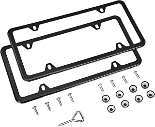 AmazonBasics Stainless Steel License Plate Frame Pair with Screw Caps - 4-Hole, 12.2″ x 6.3″, Black