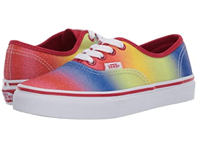 Vans Kids Authentic (Little Kid/Big Kid) ((Rainbow Glitter) Racing Red/True White) Girls Shoes