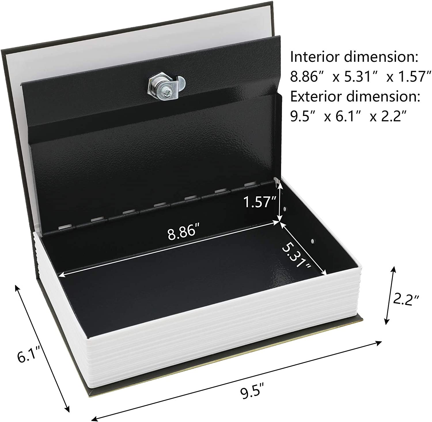 Xydstay Book Safe with Key Lock,Love Diversion Secret Book Safe for Cash Jewelry Hidden,Fake Book Safes,Large Size 9.5 x 6.1 x 2.2