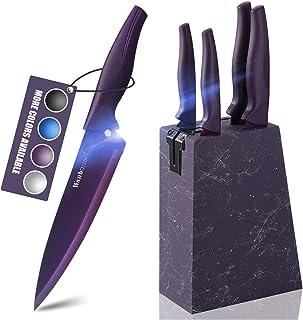 Wanbasion Marbling Purple Kitchen Knife Set Block, Kitchen Knife Set Block Wood, Professional Kitchen Knife Set Block with...