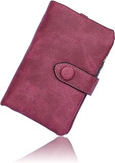 Conisy Cartera Pequeña Mujer con protección RFID,Gran Capacidad Corta Monedero de Suave Cuero con Correas de Muñeca (Fucsia)