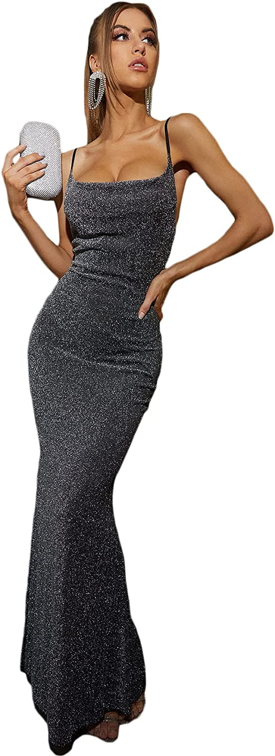 Floerns Women's Sexy Glitter Evening Gown Party Bodycon Cami Maxi Dress