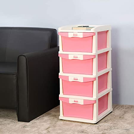 Nilkamal CHTR24 Four Layers Chest of Drawer (Pink and Cream)