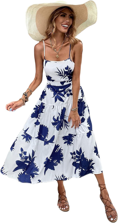 Floerns Women's Boho Floral Print Cut Out Tie Back Sleeveless Cami Long Dress