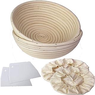 de 30,48 cm 2 cepillos para probar pan y bannetons para 1000 g de masa con forro de cortador de pan Cesta rectangular para pan de mimbre natural