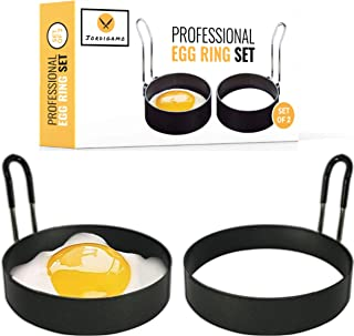 JORDIGAMO Professional Egg Ring Set For Frying Or Shaping Eggs - Round Egg Rings For Cooking - Stainless Steel Non Stick M...