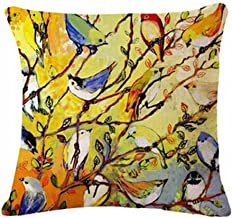 QINU KEONU Oil Painting Hundreds of Birds Cotton Linen Throw Pillow Case Cushion Cover Home Sofa Decorative 18 X 18 Inch (1)