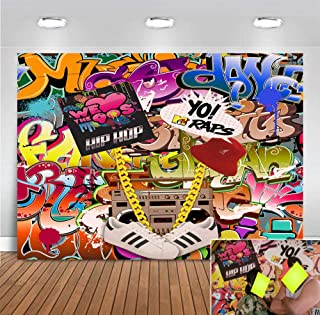 Graffiti Colorful Photography Backdrop 90s Hip Hop Photo Booth Studio Props Supplies Retro Music Photo Background Vinyl 5x3ft Rock Punk Party Banner Decorations