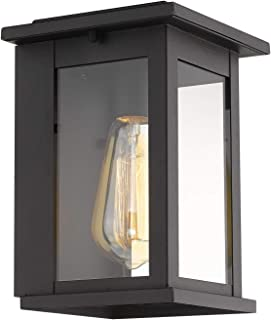 Emliviar Outdoor Wall Sconce Light Fixture, Black Finish with Clear Glass Shade, 1810-AW1
