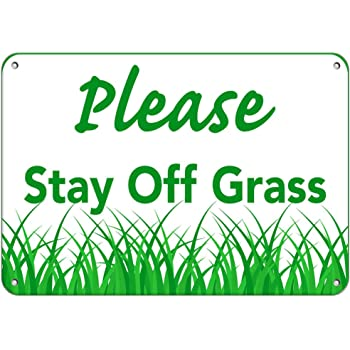 5-Pack 30x20 Please Keep Off Grass CGSignLab Victorian Frame Clear Window Cling